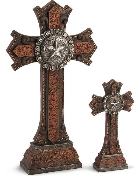 Two-Piece Star Concho Cross Statue Set