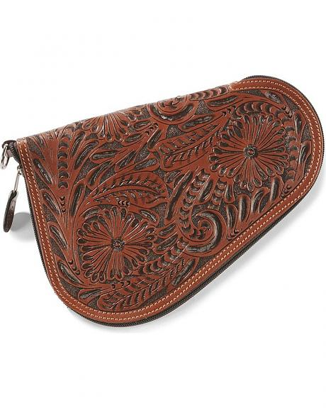 Small Floral Tooled Leather Pistol Case