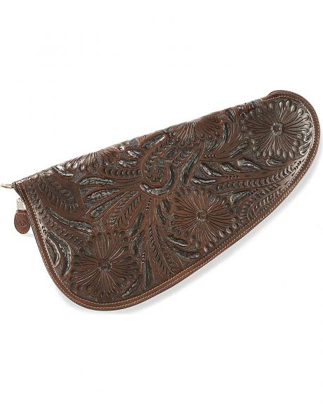 3D Large Floral Tooled Leather Pistol Case