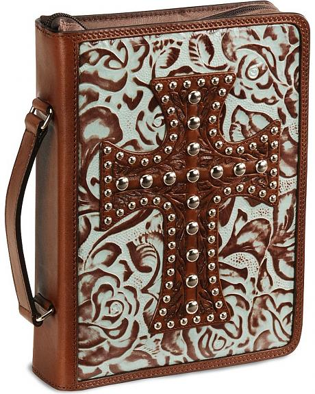 Floral Tooled Cross Leather Bible Cover