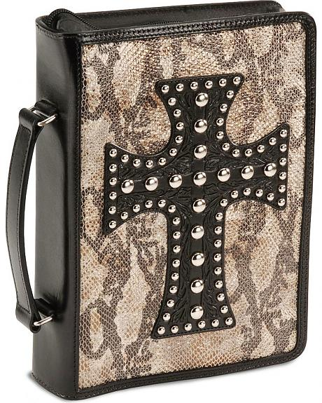 Metallic Snake Print Leather Cross Bible Cover