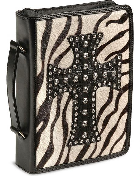 Zebra Print Hair On Leather Bible Cover