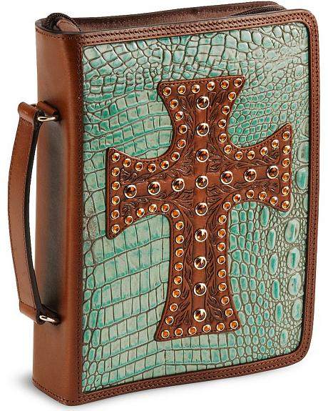 Croc Print Leather Bible Cover