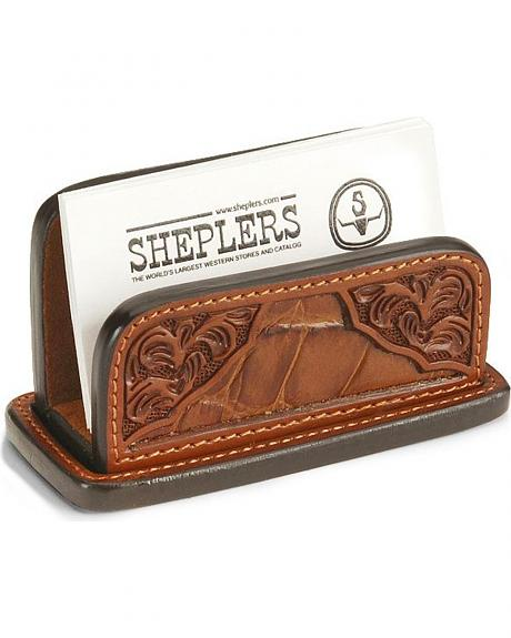 Floral Leather Business Card Holder
