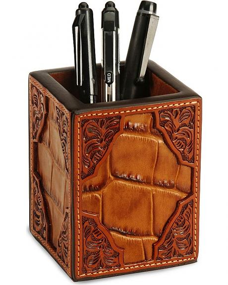 Floral Print Leather Pen Holder