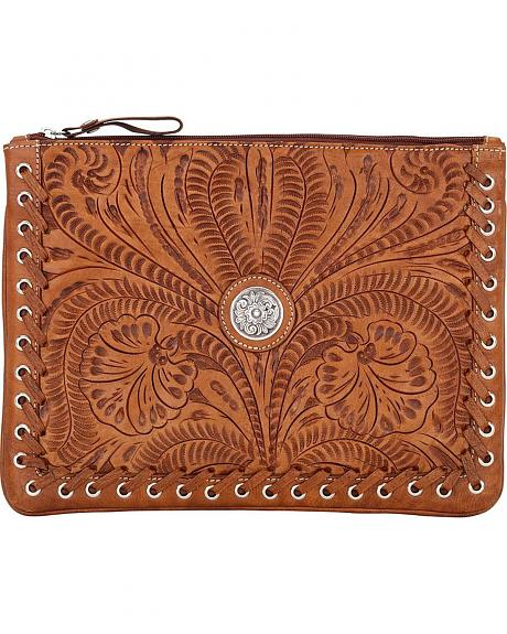American West Tan Tooled Leather Tablet Computer Case
