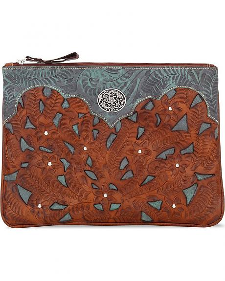 American West Tooled Leather Inlay Tablet Computer Case