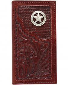 American West Hand Tooled Leather Rodeo Wallet