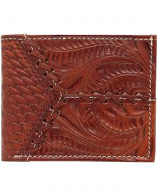 American West Hand Tooled & Leather Laced Wallet