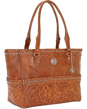 American West Leather Laced Carry-On Leather Tote
