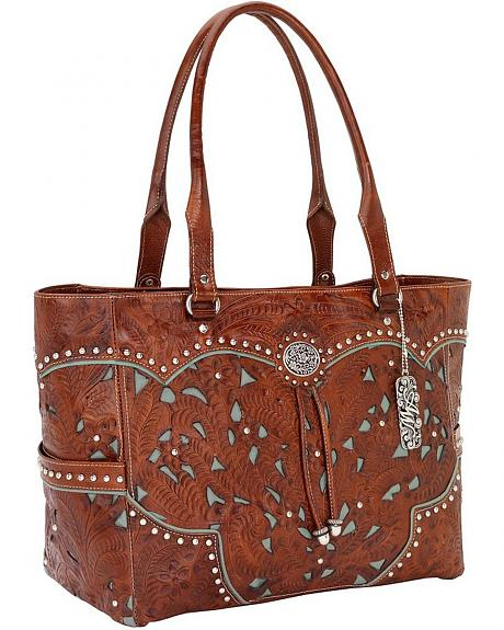 American West Fancy Leather Inlay Carry-On Tote