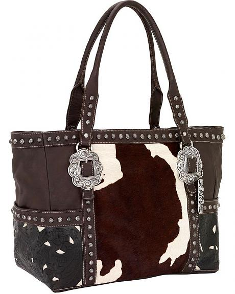 American West Cowhide Print Leather Carry-On Tote