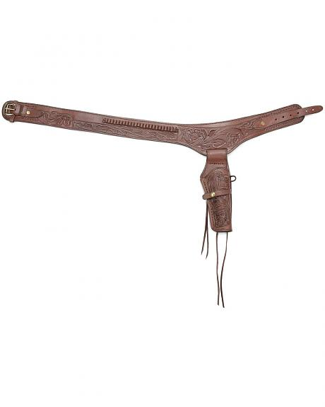 Western Express .38 Caliber Hand Tooled Leather Single-Gun Belt & Holster