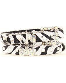 Blazin Roxx Zebra Print Dog Collar - M-L