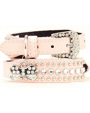 Blazin Roxx Blush Studs & Stones Dog Collar - S-XL