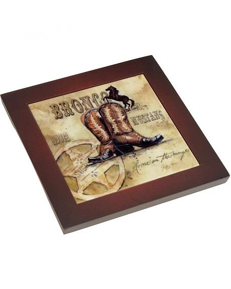 Cowboy Up Framed Ceramic Trivet