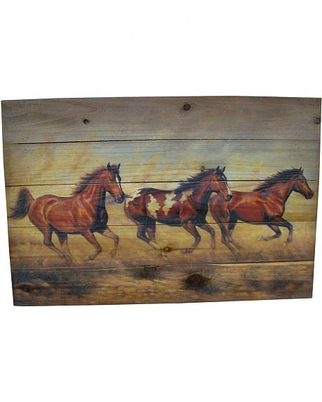 Running Horses Painted Wood Wall Art