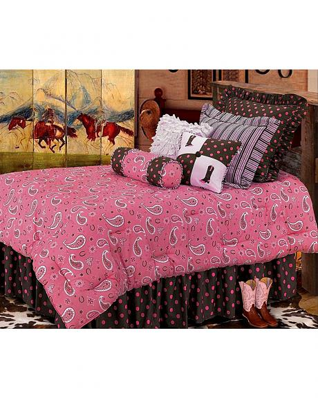 HiEnd Accents Pink Paisley & Polka Dot Bed In A Bag Set - Queen Size