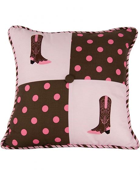 HiEnd Accents Pink Polka Dots & Boots Decorative Pillow