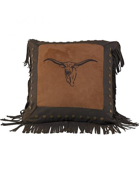 HiEnd Accents Embroidered Steer Head Decorative Pillow