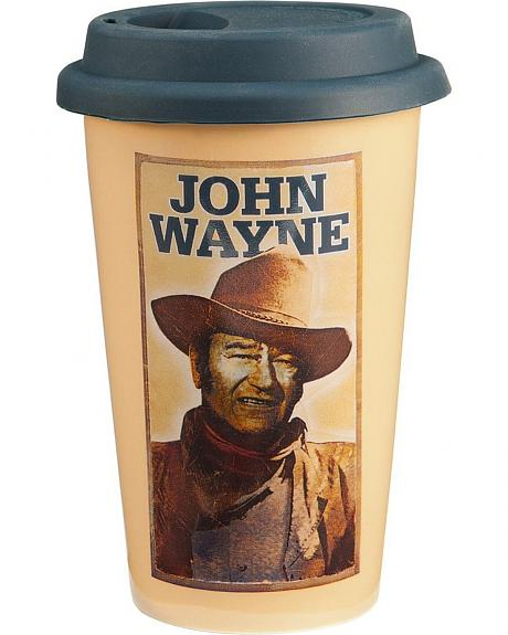 John Wayne Double Wall Ceramic Travel Tumbler