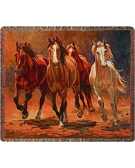 Hoofbeats & Heartbeats Running Horses Throw