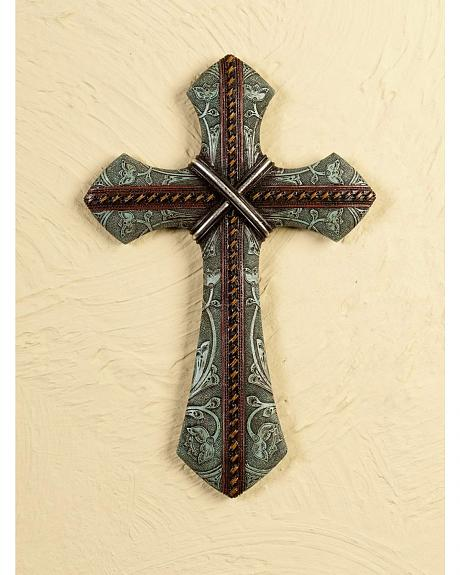 Tooled and Whipstitch Cross Wall Decor