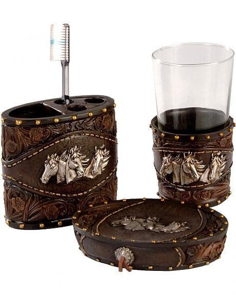 Horse Head Three Piece Bathroom Set