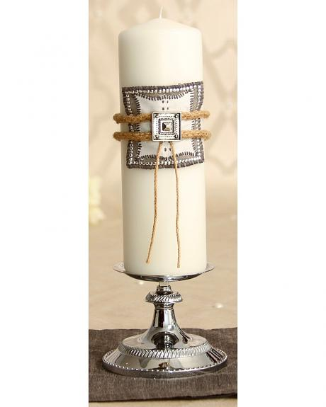 Rope and Concho White Wedding Pillar Candle