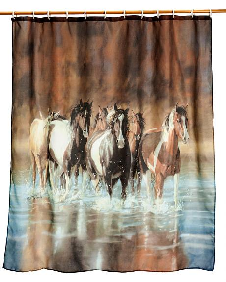 Rush Hour Running Horses Shower Curtain