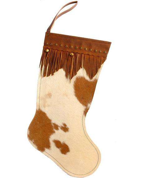 Faux Leather Hair on Hide Christmas Stocking