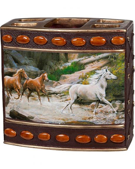 Horse Canyon Beaded Horse Print Toothbrush Holder
