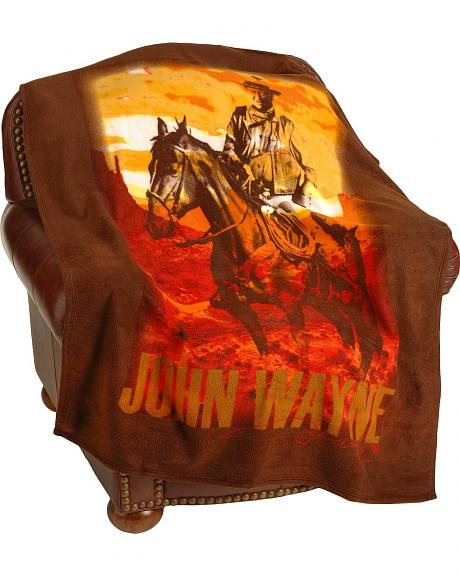 John Wayne on Horse Fleece Blanket