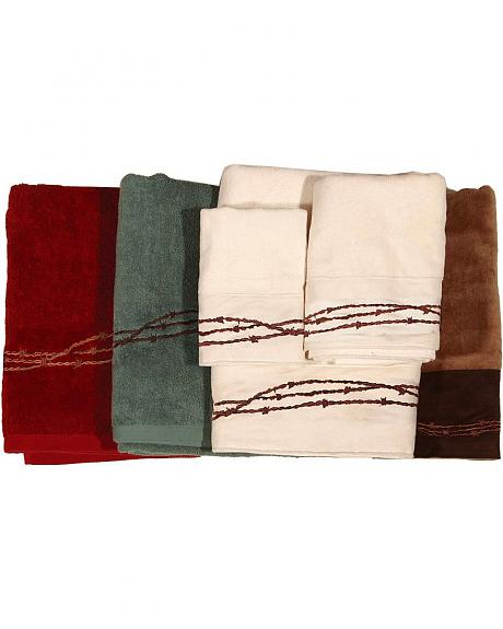 HiEnd Accents hree-Piece Embroidered Barbed Wire Bath Towel Set - Cream