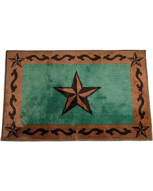 HiEnd Accents Turquoise Star Bathroom/Kitchen Rug