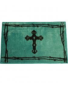 HiEnd Accents Turquoise Cross & Barbwire Bathroom/Kitchen Rug