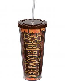 Cowboy Insulated Wrap Around Wooden Print Tumbler Cup