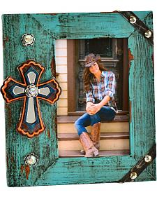 "Wooden Rhinestone & Cross 4"" x 6"" Photo Frame"
