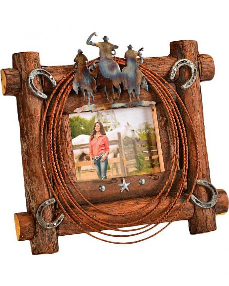Metal Cowboys with Rope & Horseshoe Rustic Wooden Frame - 5