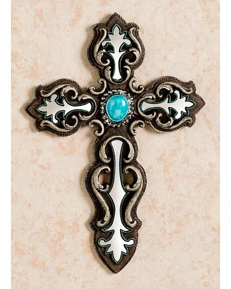 M&F Western Mirror Inlay with Faux Turquoise Stone Wall Cross