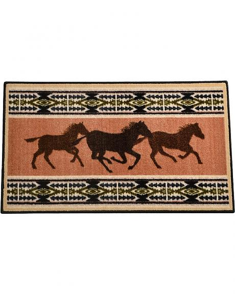 Running Horses with Aztec Border Rug