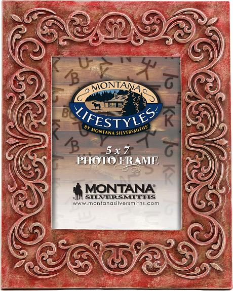Montana Silversmiths Red Scrolling Frame - 5
