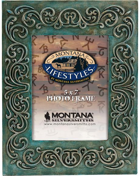 Montana Silversmiths Burnt Turquoise with Scrolling Photo Frame - 5