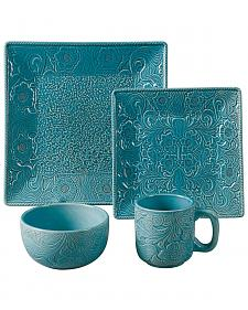 HiEnd Accents Savannah Turquoise Dinnerware Set
