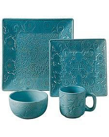 HiEnd Accents Savannah Turquoise Dinnerware Set