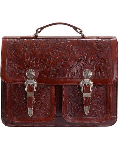 American West 2 Compartment with Front Pockets Mahogany Leather Briefcase