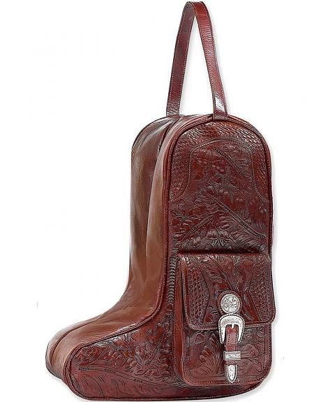 American West Zip Around Mahogany Leather Boot Bag