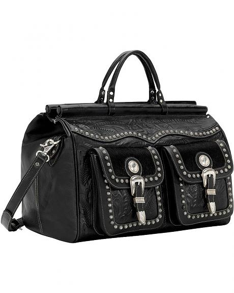 American West Black Leather Duffel Bag
