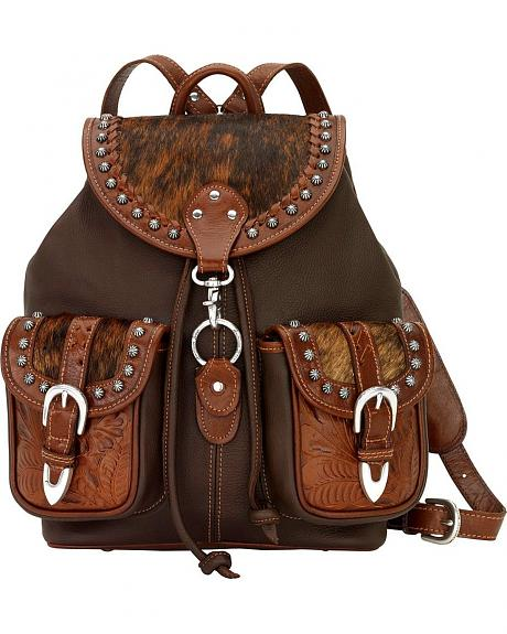American West Leather & Hair-on-Hide Drawstring Backpack