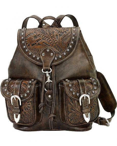 American West Brown Tooled & Distressed Leather Drawstring Backpack